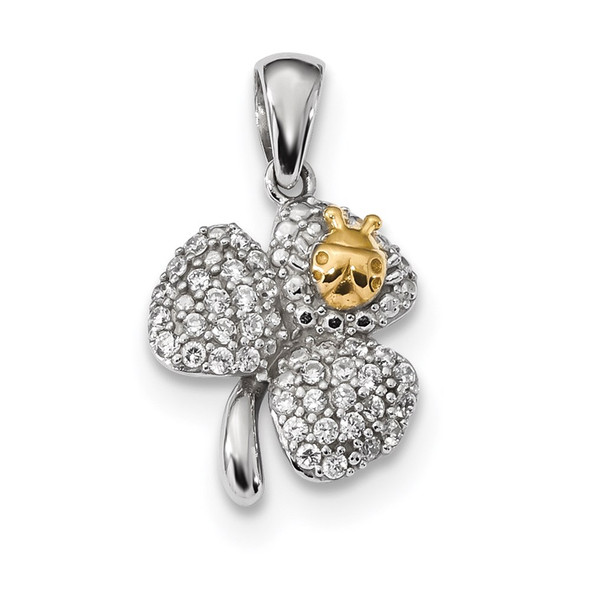 Sterling Silver Rhodium-Plated and Gold-tone Polished with CZ Clover Pendant