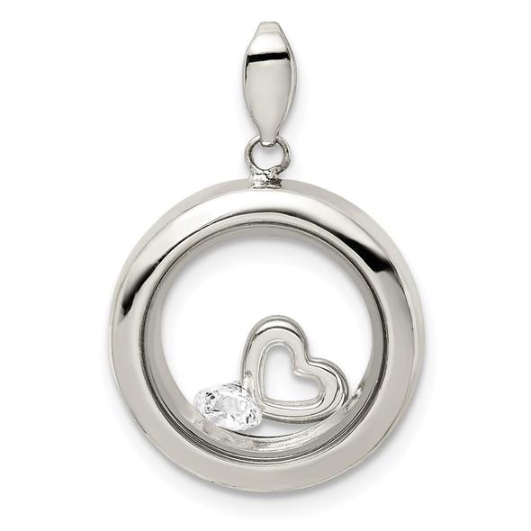 Sterling Silver CZ 18mm Circle Glass Pendant