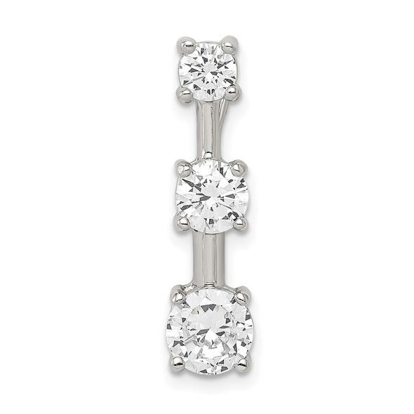 Sterling Silver 3-stone CZ Pendant