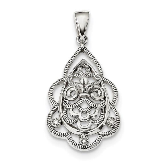Sterling Silver Oxidized with CZ Fleur de Lis Pendant