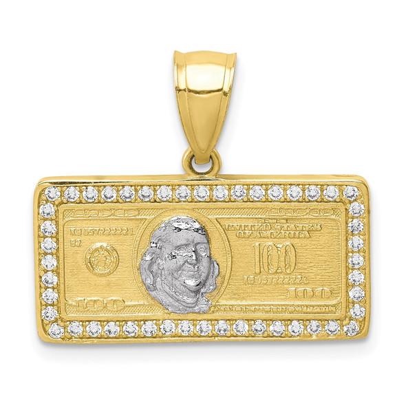 10k Yellow Gold With Rhodium-Plating CZ Micropave 100 Dollar Bill Pendant