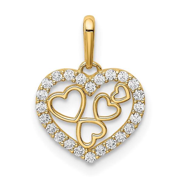 14k Yellow Gold Hearts CZ Pendant