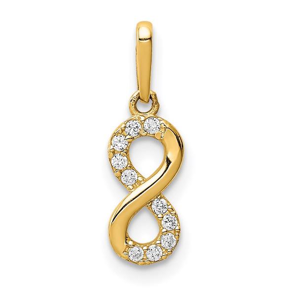 14k Yellow Gold CZ Infinity Symbol Pendant