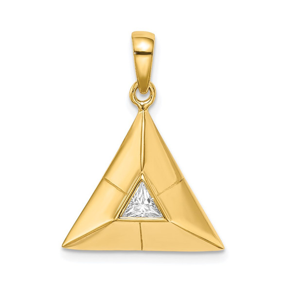 Gold-Plated Sterling Silver Triangular Origami CZ Pendant