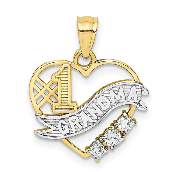10k Yellow Gold With Rhodium-Plating CZ #1 Grandma In Heart Pendant
