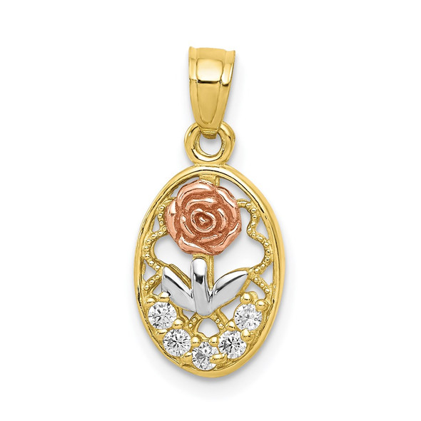 10k Yellow and Rose Gold with White Rhodium CZ Rose Pendant
