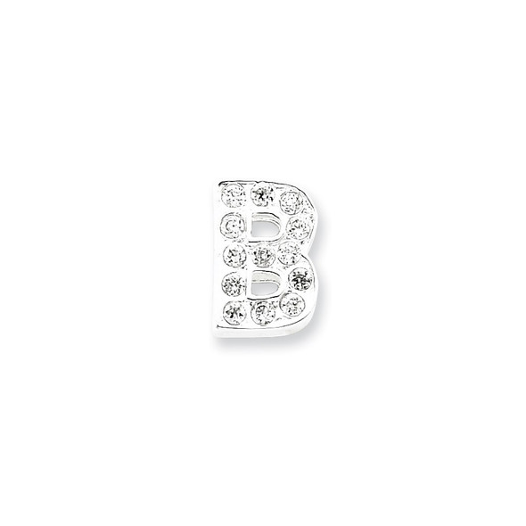Sterling Silver CZ Initial B Pendant