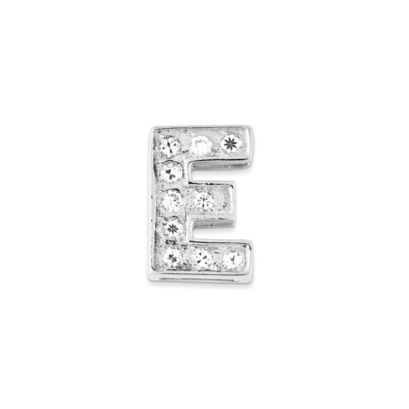 Sterling Silver CZ Initial E Pendant QC6527E