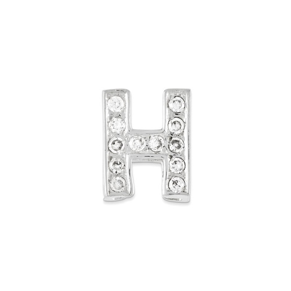 Sterling Silver CZ Initial H Pendant QC6527H