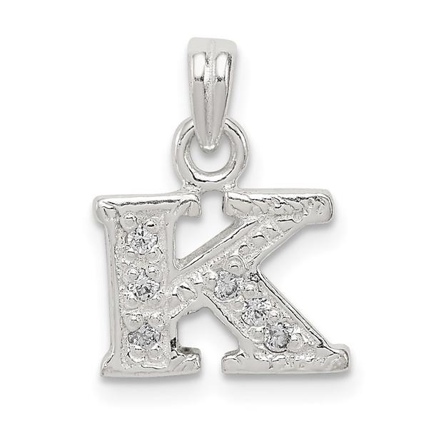 Sterling Silver CZ Initial K Pendant QC6717K