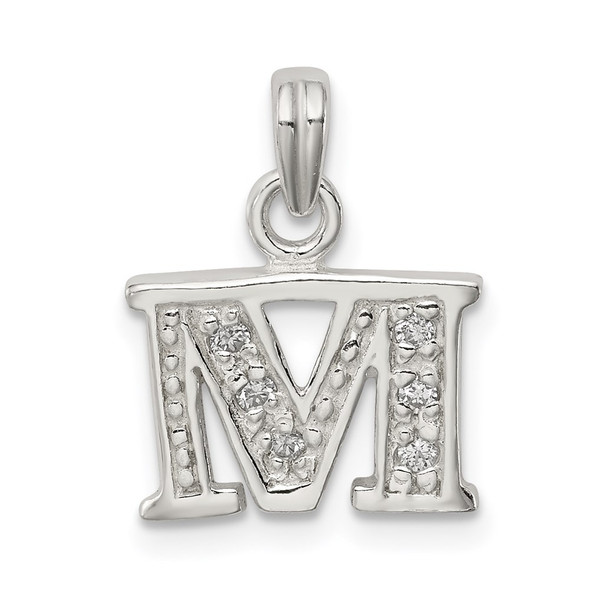 Sterling Silver CZ Initial M Pendant QC6717M