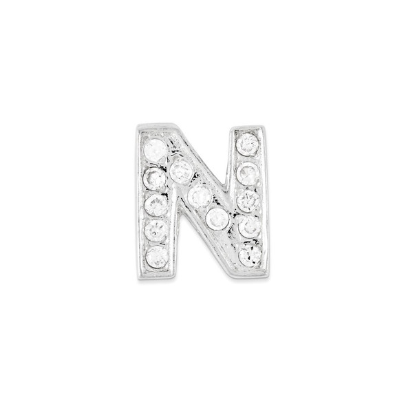 Sterling Silver CZ Initial N Pendant