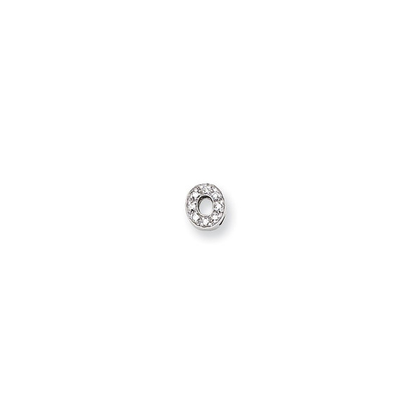 Sterling Silver CZ Initial O Slide