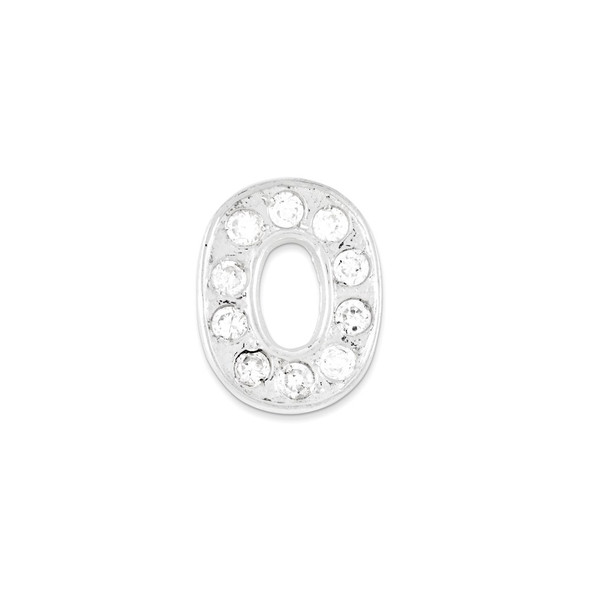 Sterling Silver CZ Initial O Pendant