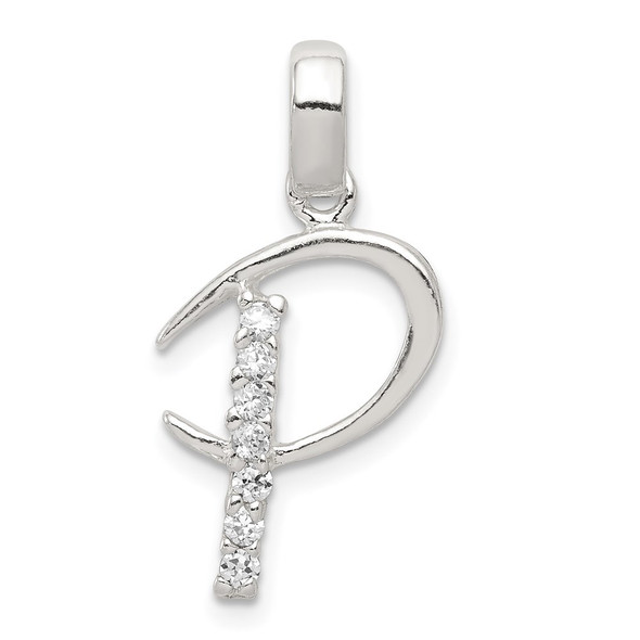 Sterling Silver CZ Initial P Pendant QC6525P