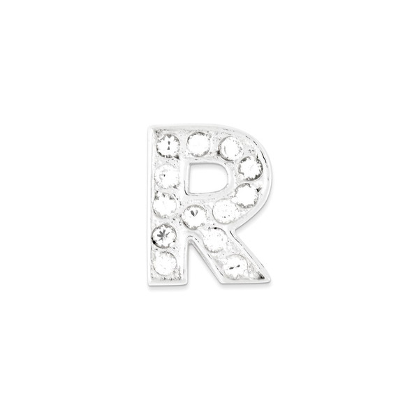 Sterling Silver CZ Initial R Pendant