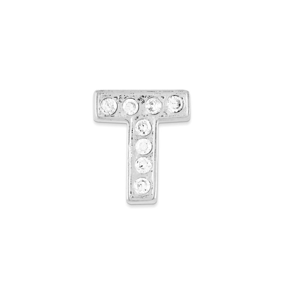 Sterling Silver CZ Initial T Pendant