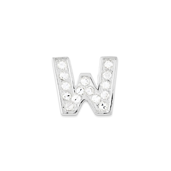 Sterling Silver CZ Initial W Pendant