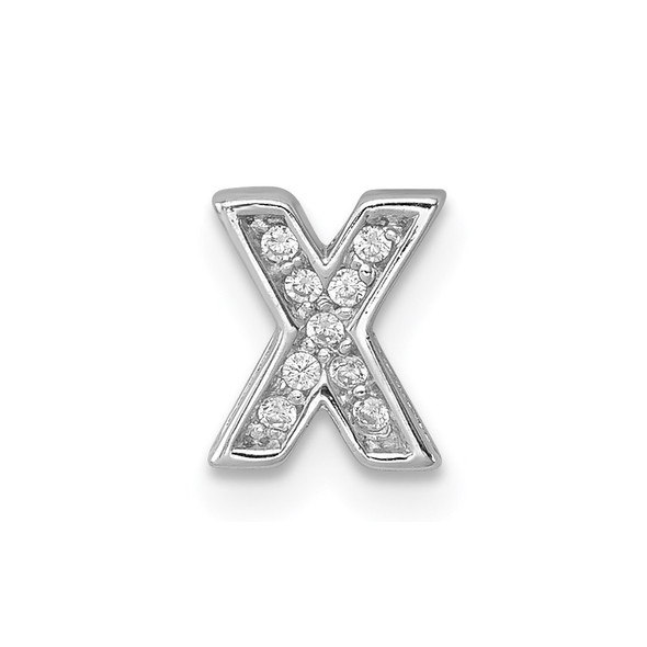 Sterling Silver Rhodium plated CZ Letter X Slide Pendant