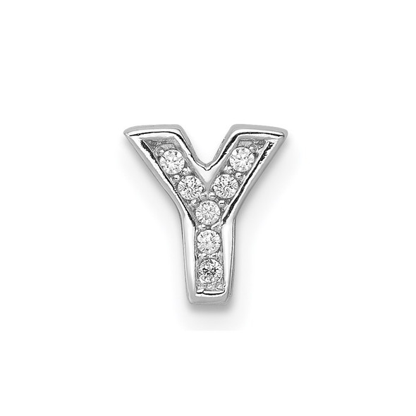 Sterling Silver Rhodium plated CZ Letter Y Slide Pendant
