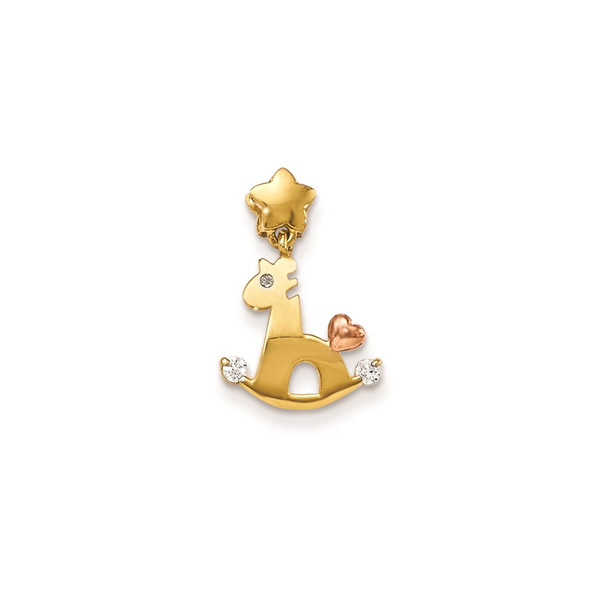 14k Yellow And Rose Gold CZ Childrens Rocking Horse Pendant