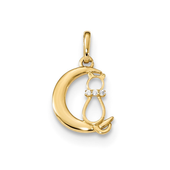 14k Yellow Gold Childrens CZ Cat And Moon Pendant