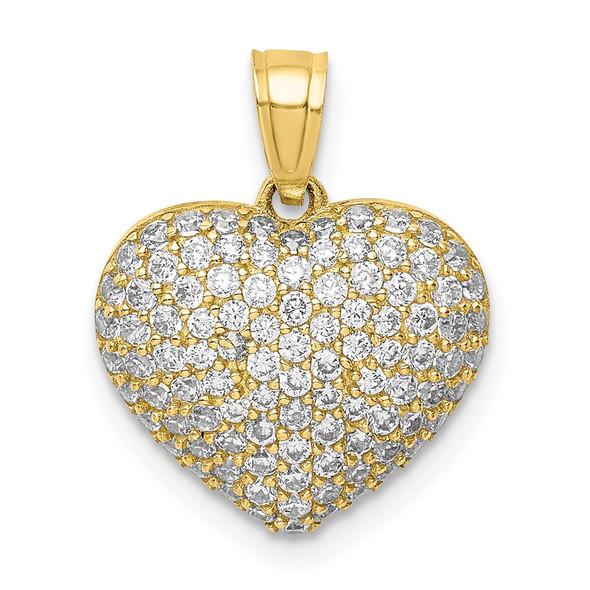 10k Yellow Gold CZ Micro Pave Heart Pendant 10C1442