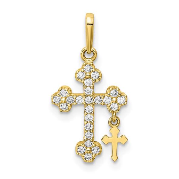 10k Yellow Gold CZ Budded Cross w/Cross Dangle Pendant