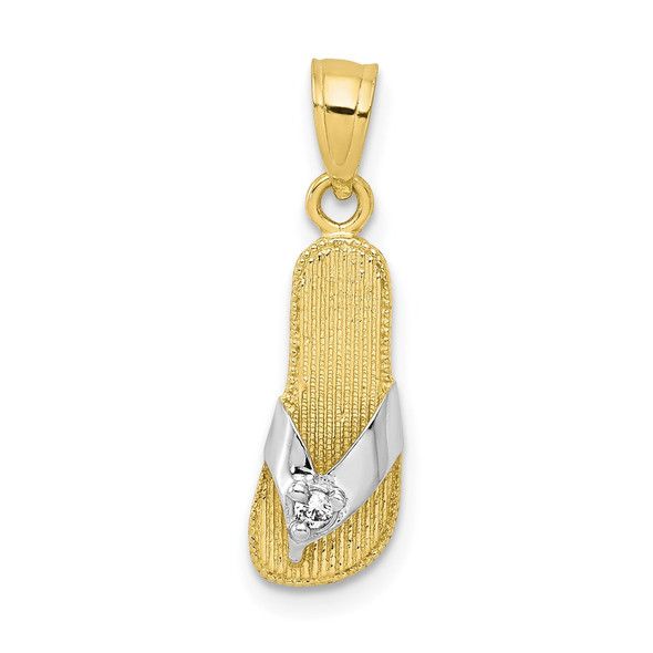 10k Yellow Gold With Rhodium-Plating CZ Flip Flop Pendant