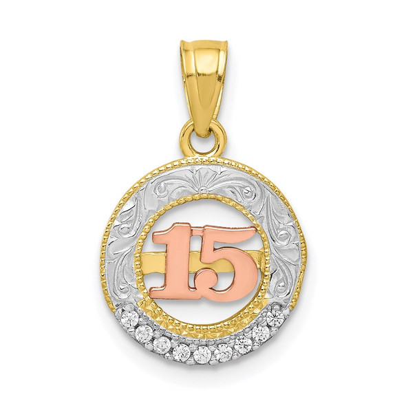 10k Yellow and Rose Gold with Rhodium-Plating CZ 15 Round Pendant