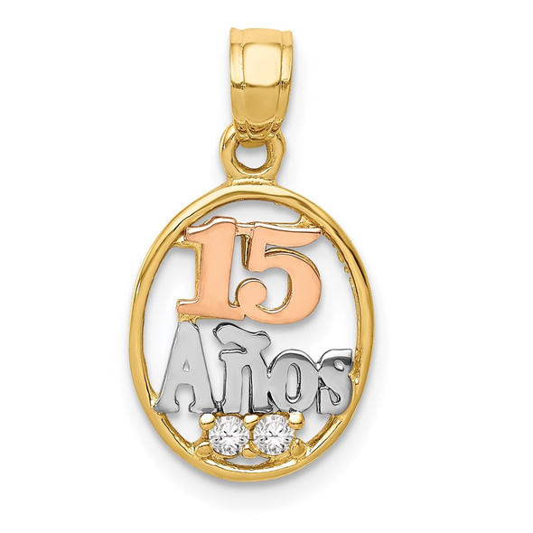14k Two-Tone Gold W/White Rhodium CZ 15 Anos Pendant