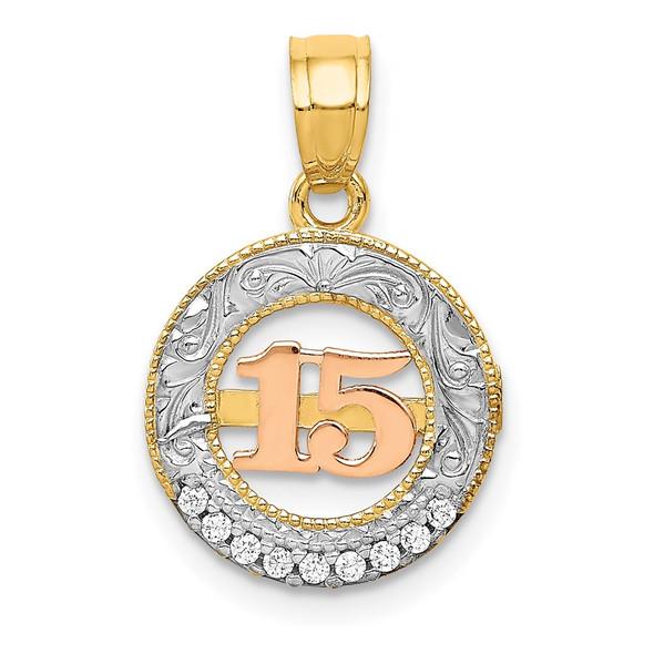 14k Two-Tone Gold W/White Rhodium CZ 15 Pendant