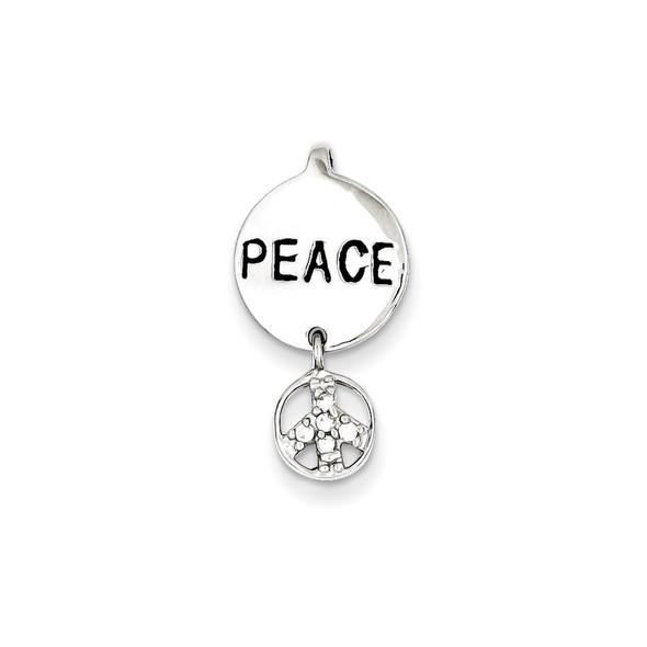 Sterling Silver CZ Peace Inspiration Pendant