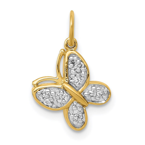 14k Yellow Gold Diamond Butterfly Charm