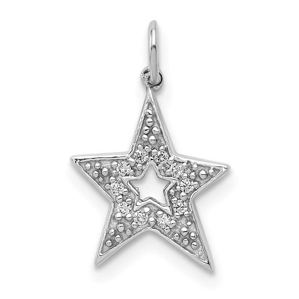 14k White Gold 1/20ctw Diamond Star Charm