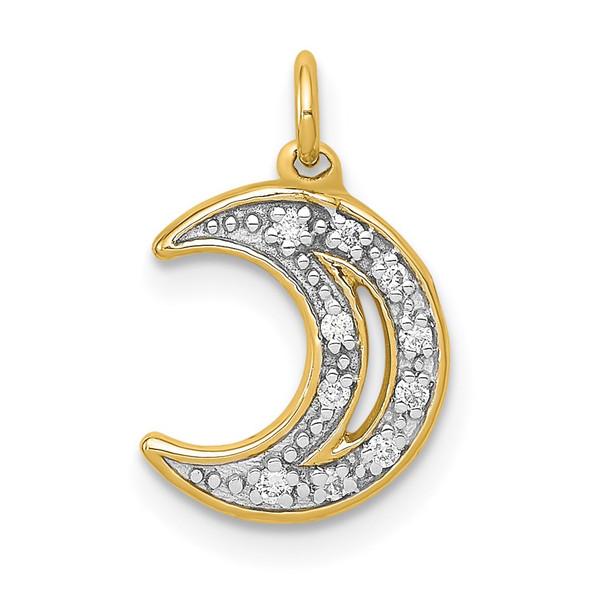 14k Yellow Gold Diamond Moon Charm