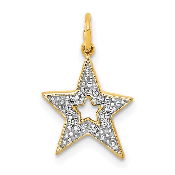 14k Yellow Gold Diamond Star Charm