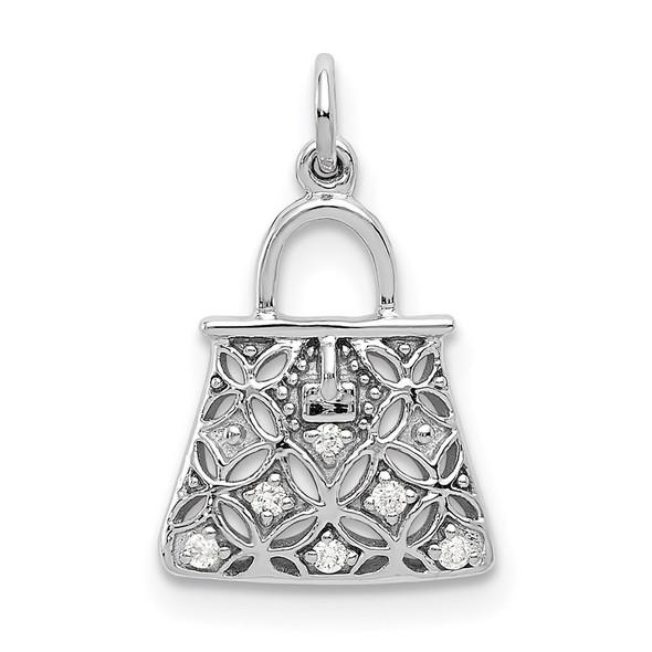 14k White Gold Diamond Handbag Charm