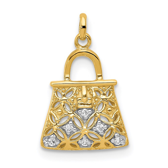 14k Yellow Gold and Rhodium Diamond Handbag Charm
