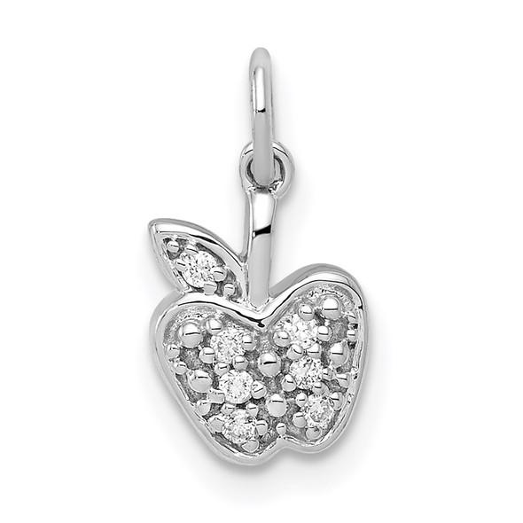 14K White Gold Diamond Apple Charm