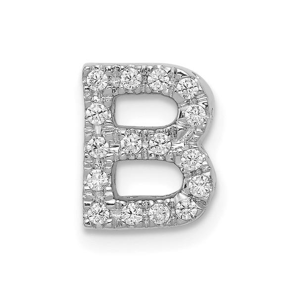 14K White Gold Diamond Initial B Charm