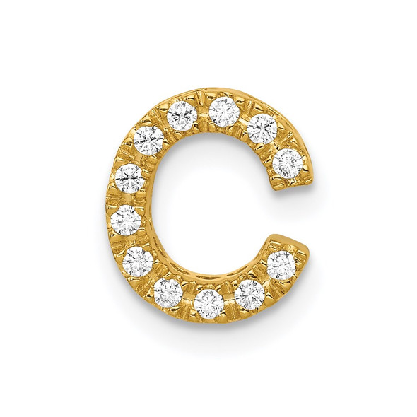 14k Yellow Gold Diamond Initial C Charm