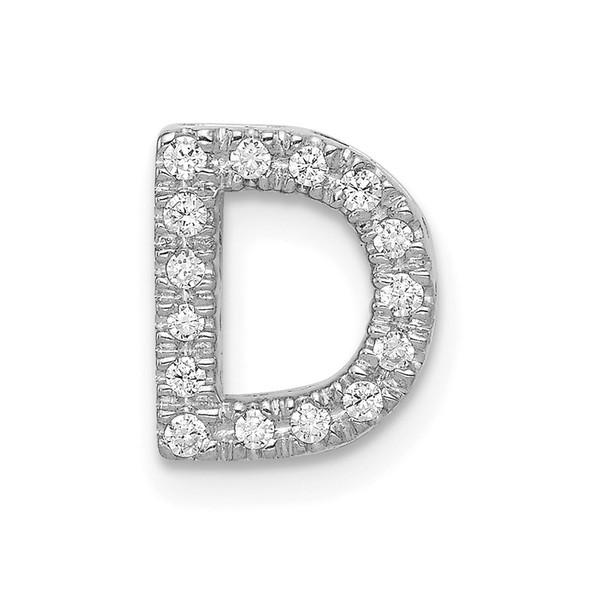 14K White Gold Diamond Initial D Charm