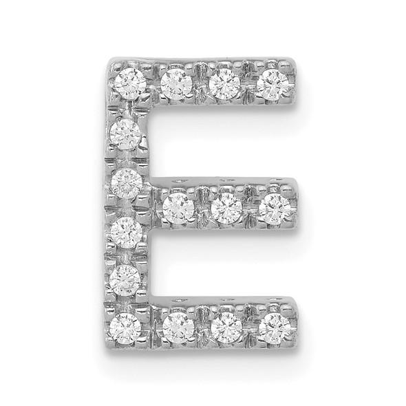 14K White Gold Diamond Initial E Charm