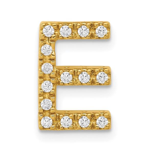 14k Yellow Gold Diamond Initial E Charm