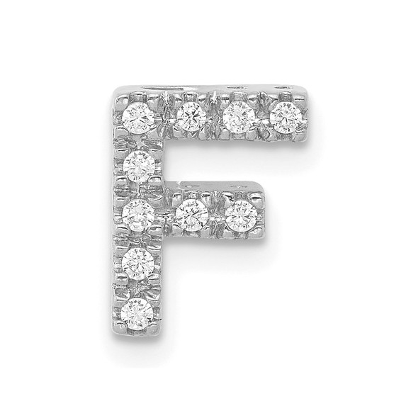 14K White Gold Diamond Initial F Charm