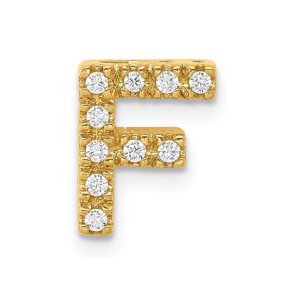 14k Yellow Gold Diamond Initial F Charm