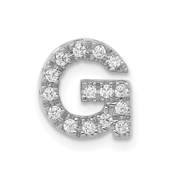 14K White Gold Diamond Initial G Charm