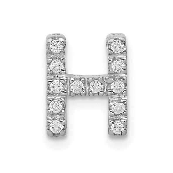 14K White Gold Diamond Initial H Charm