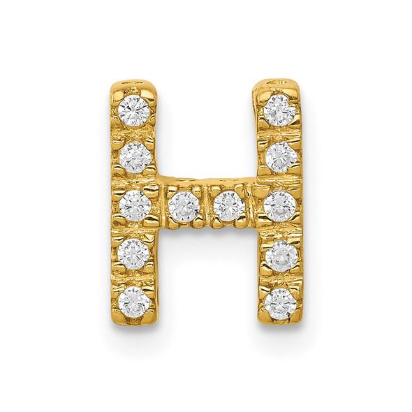 14k Yellow Gold Diamond Initial H Charm